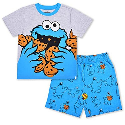Sesame Street Boy's 2-Pack Short Sleeve Graphic Tee and Casual Shorts Set for Toddlers