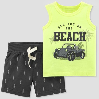 Baby Boys' 2pc Beach Cruiser Tank and Shorts Set - Just One You® made by carter's Yellow/Navy Newborn