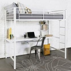 Kids Workstation Bunk Bed - Twin - Metal - Saracina Home