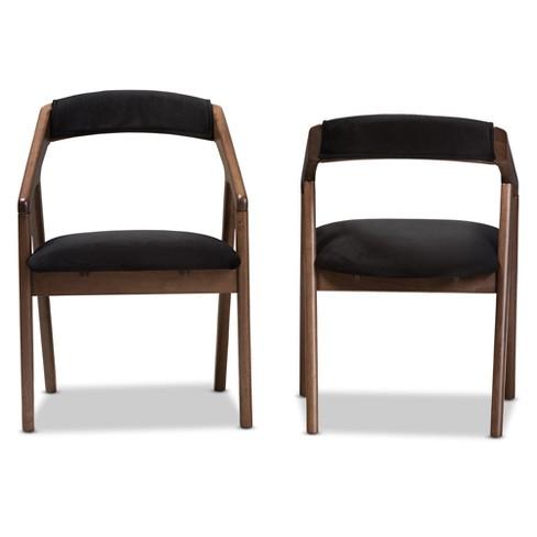dfaa2c61237 Set Of 2 Wendy Midcentury Modern Velvet And Walnut Wood Finishing Dining  Chairs Dark Gray  Brown - Baxton Studio   Target