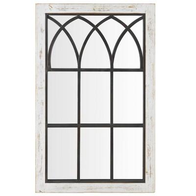 "24"" x 1"" x 37.5"" Vista Arched Farmhouse Window Mirror Distressed White - FirsTime & Co."