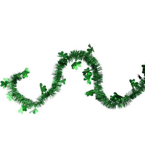 "Northlight 25' x 2"" Unlit Green Laser Tinsel Irish Shamrock St. Patrick's Day Garland - image 1 of 1"