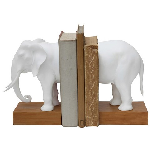 "Resin Elephant Bookends Set of 2 - White (13-1/4""L) - image 1 of 1"