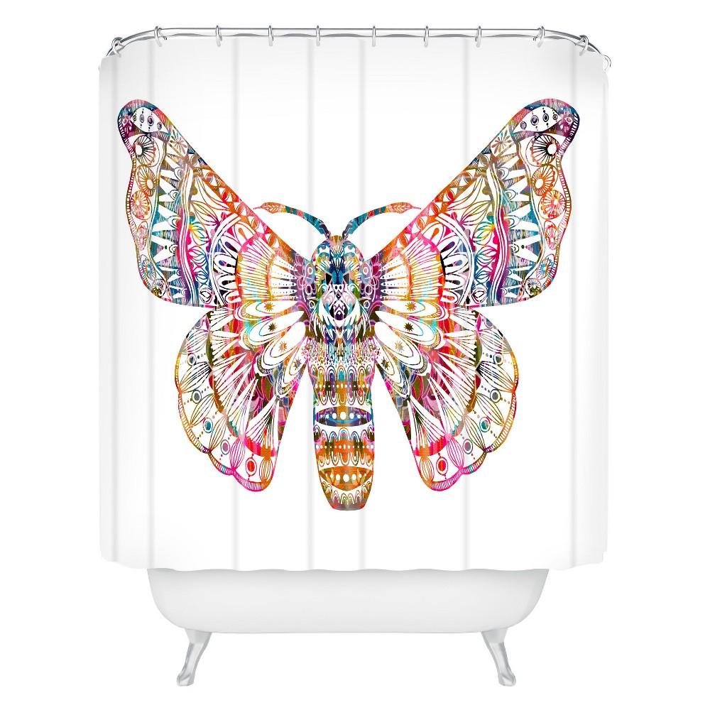 Stephanie Corfee Artsy Moth Shower Curtain White Deny Designs