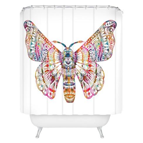 Stephanie Corfee Artsy Moth Shower Curtain Tea Rose