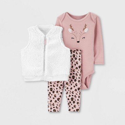 Baby Girls' 3pc Sherpa Deer Vest Top & Bottom Set - Just One You® made by carter's Peach/White 6M