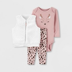 Baby Girls' 3pc Sherpa Deer Vest Top & Bottom Set - Just One You® made by carter's Pink