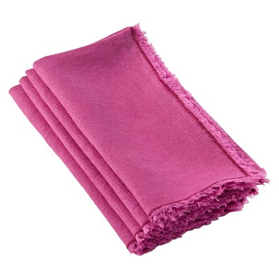 Fringed Design Stone Washed Napkins Fuchsia (Set of 4)