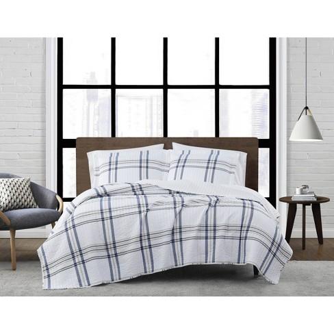 Full/Queen 3pc Kent Plaid Quilt Set White/Blue - London Fog - image 1 of 3