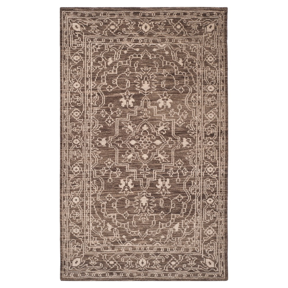Brown/Beige Solid Knotted Area Rug - (4'X6') - Safavieh