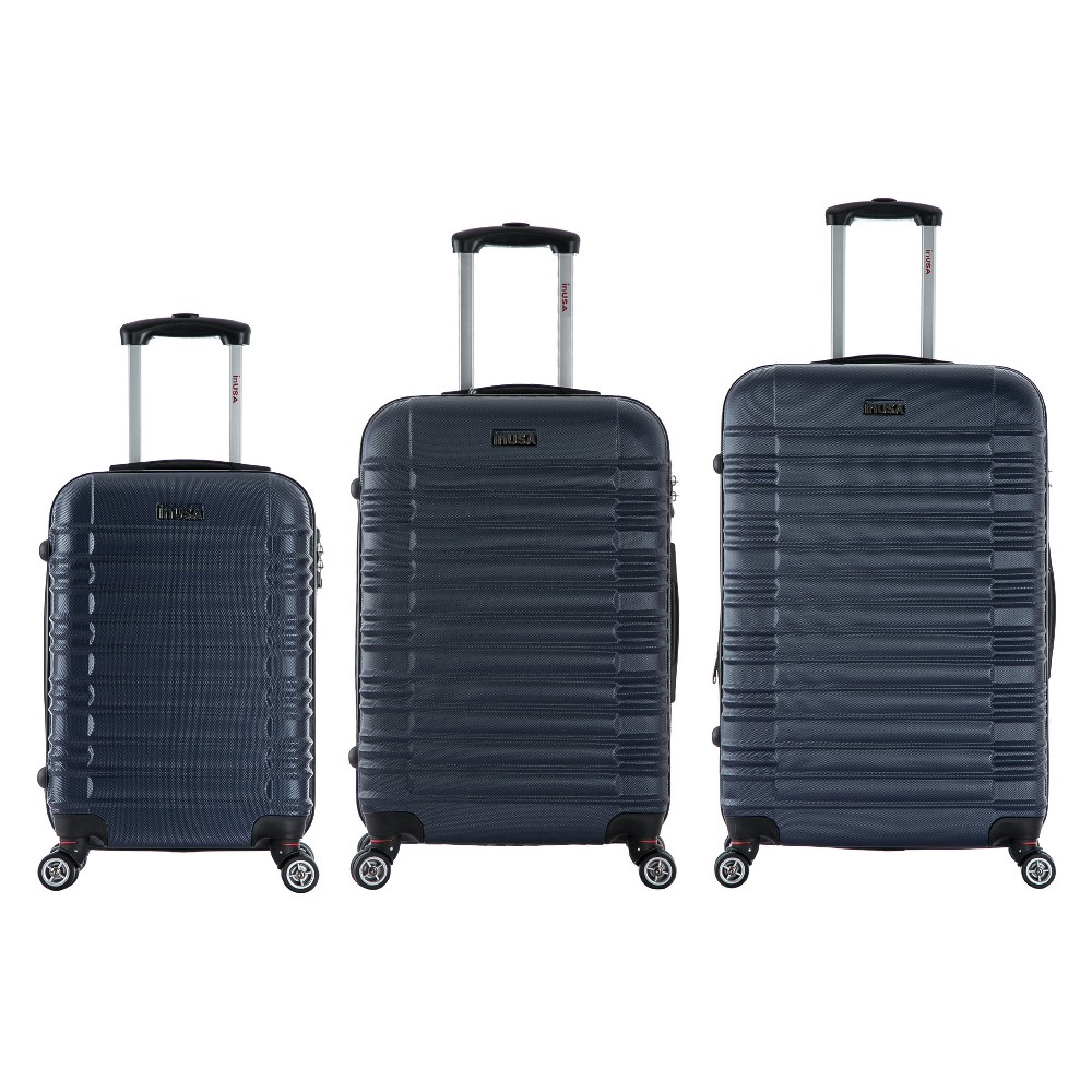 Image of InUSA New York 3pc Hardside Spinner Luggage Set - Navy Blue, Blue Blue