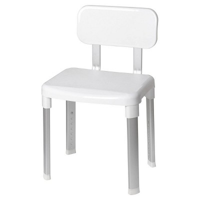 Deluxe Bathroom Chair with Back Support White - evekare