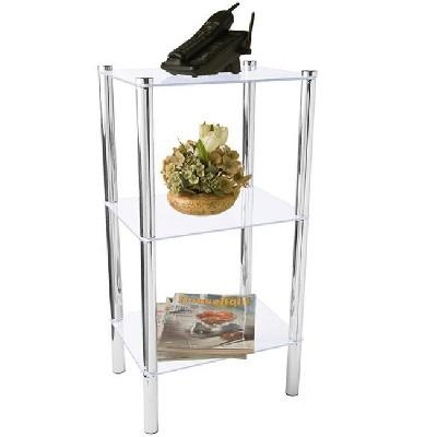 Home Basics 3 Tier Multi Use Rectangle Glass Corner Shelf, Clear
