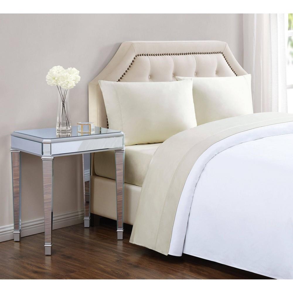 King 610 Thread Count Solid Cotton Sheet Set Almond Milk - Charisma