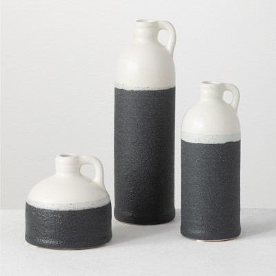 "Sullivans Set of 3 Ceramic Black & White Jug Vases 10""H, 7.5""H & 4""H White and Black"