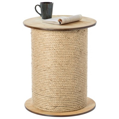 Vintiquewise Decorative Round Spool Shaped Wooden Accent  Side Table with Rope