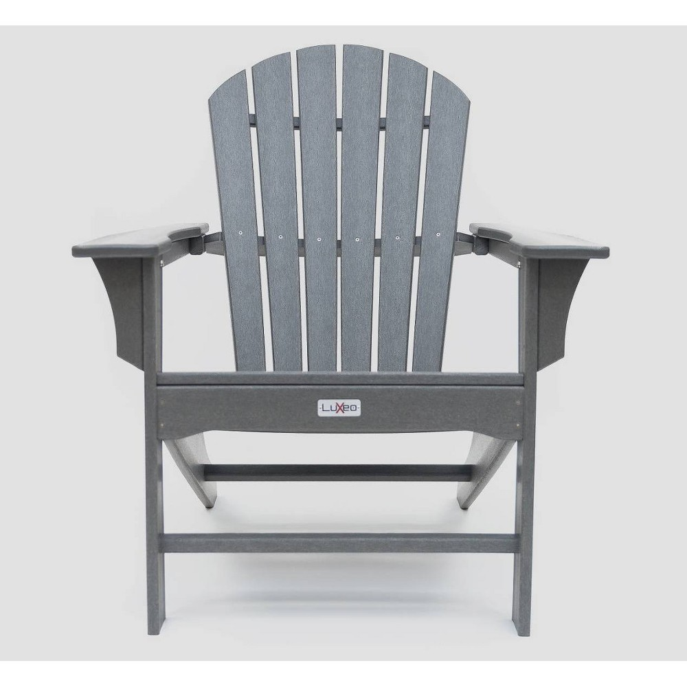 Image of Hampton Poly Outdoor Patio Adirondack Chair - Gray - LuXeo