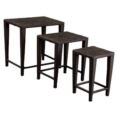 Merveilleux Malcolm Set Of 3 Wicker Nested Side Tables   Christopher Knight Home