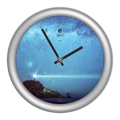 """14"""" x 1.8"""" Milky Way Lighthouse Quartz Movement Decorative Wall Clock Silver Frame - By Chicago Lighthouse"""