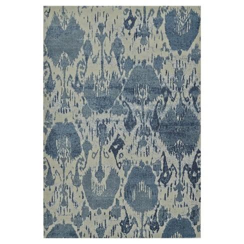 5 3 X7 7 Denim Blue Ikat Design Woven