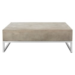 Eartha Modern Concrete Rectangle Coffee Table - Dark Grey - Safavieh