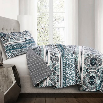 Navy & Turquoise Nesco Stripe Quilt Set (Full/Queen)- Lush Decor