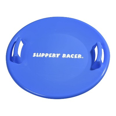 Slippery Racer Downhill Pro Adults and Kids Plastic Saucer Disc Snow Sled with Handles, Blue