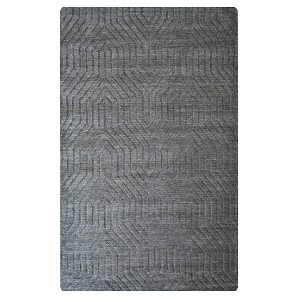 Rizzy Home Technique Collection 5' x 8' Hand-Loomed 100% Wool Area Rug, Dark Gray