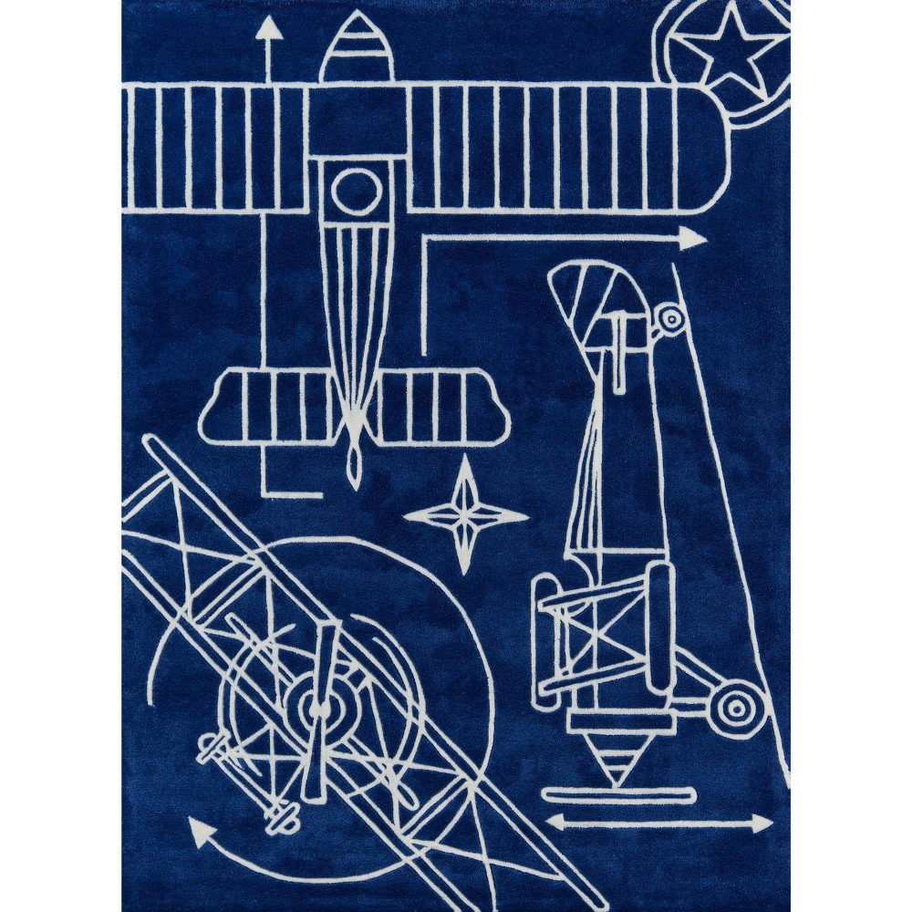 Vintage Plane Blueprint Area Rug Navy (4'x6'), Blue