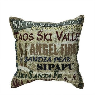 """Simply Home 17"""" New Mexico Ski Country Tapestry Accent Indoor Throw Pillow - Green/Brown"""