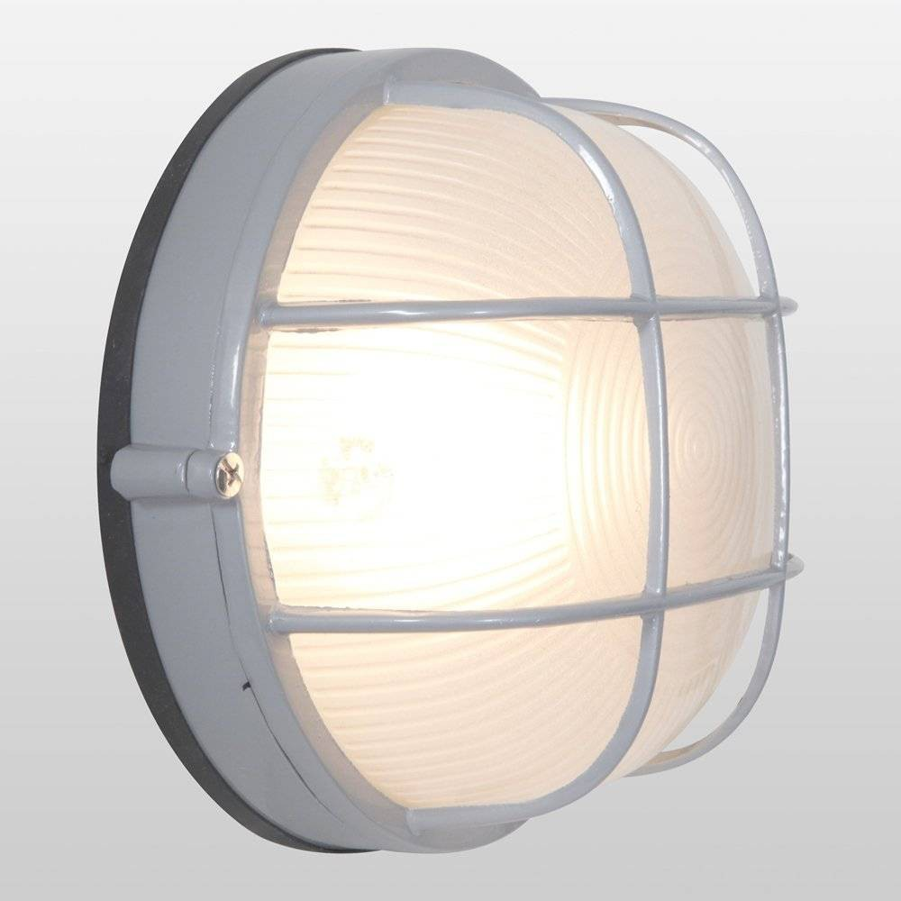 "Image of ""7"""" Nauticus Round LED Outdoor Wall Light with Frosted Glass Shade Gray - Access Lighting, Satin"""