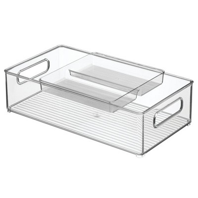 mDesign 2 Piece Plastic Stackable Kitchen Pantry Organizer with Top Tray - Clear