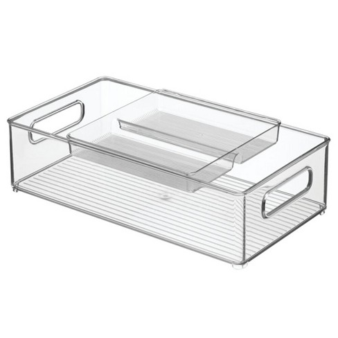 mDesign 2 Piece Plastic Stackable Kitchen Pantry Organizer with Top Tray - Clear - image 1 of 4