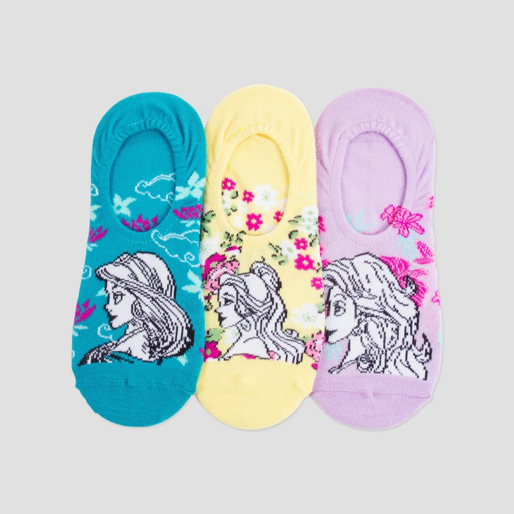 Image of Women's 3pk Disney Princess Liner Socks - Teal/Yellow/Purple (Blue/Yellow/Purple) One Size