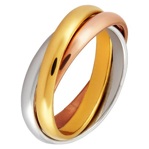 West Coast Jewelry Tri-Color Stainless Steel Intertwined Triple Band Ring - image 1 of 3