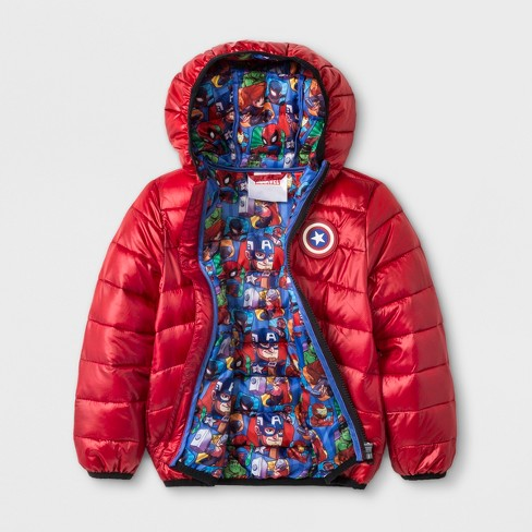 4a1267e12813 Toddler Boys  Marvel Avengers Hooded Quilted Jacket - Red   Target