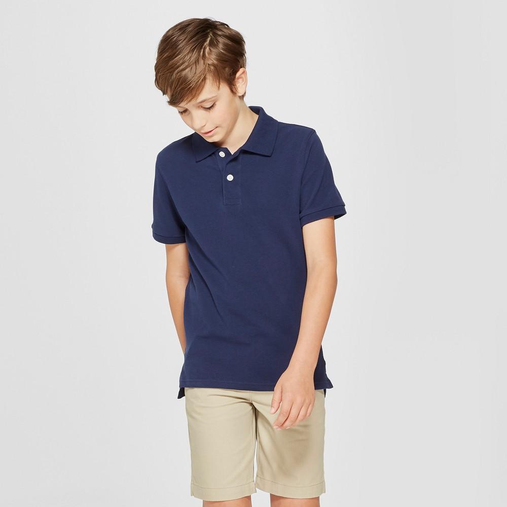 Boys' Short Sleeve Pique Uniform Polo Shirt - Cat & Jack Navy (Blue) Xxl