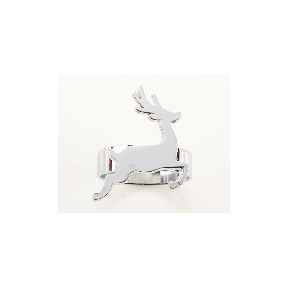 Kate Aspen Set Of 8 Silver Reindeer Napkin Ring Silver