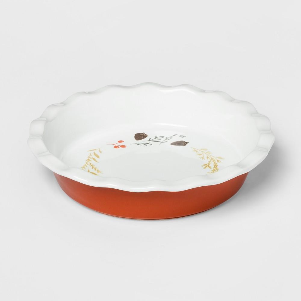 10.4 Ceramic Pie Pan White/Orange - Threshold
