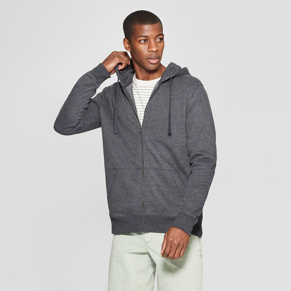 Men's Standard Fit Long Sleeve Hooded Fleece Sweatshirt - Goodfellow & Co Charcoal (Grey) L