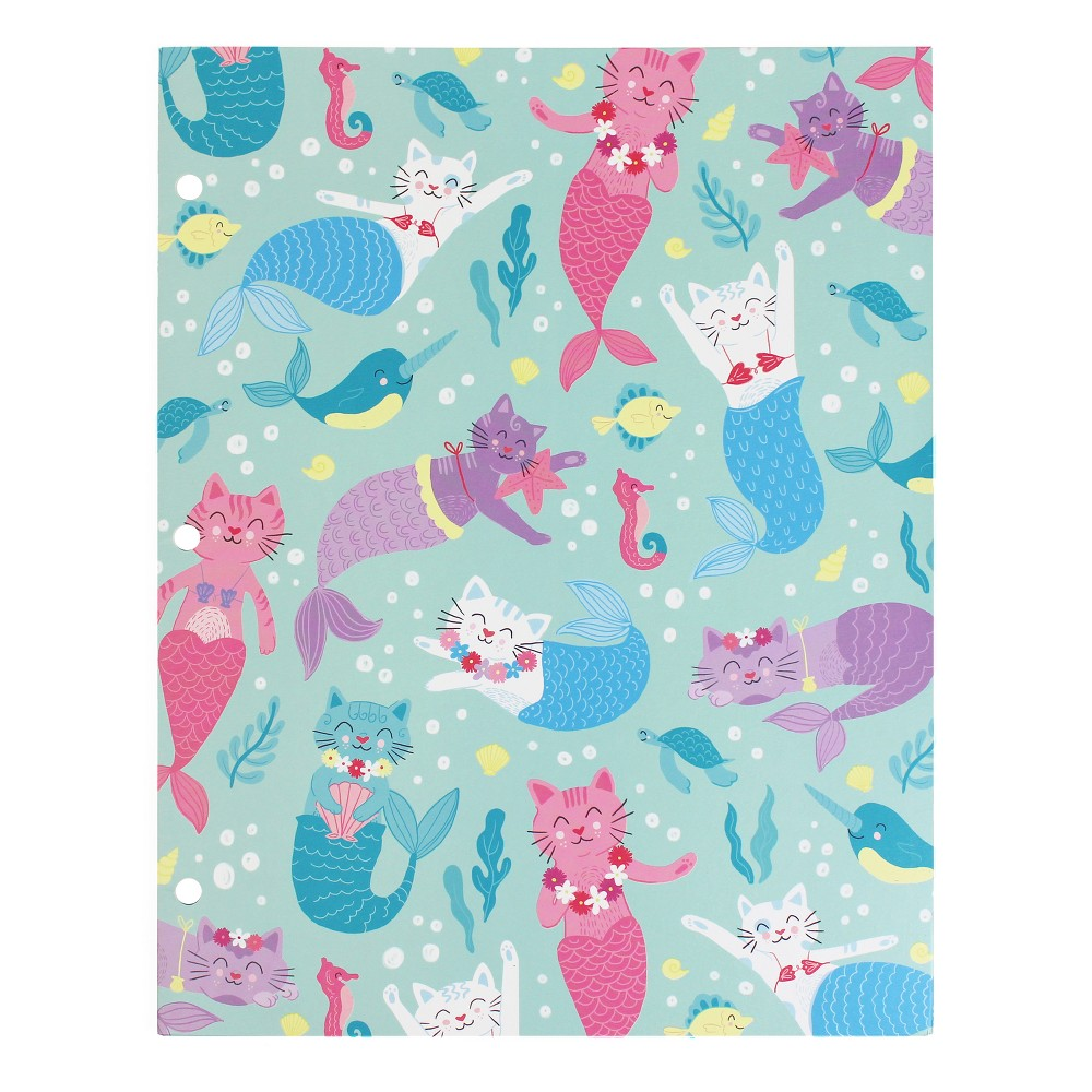 2 Pocket Paper Folder Blue Mermaid Cats - greenroom, Multi-Colored
