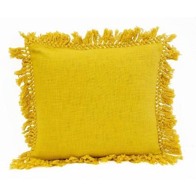 "20""x20"" Oversize Simone Cotton Fringe Trim Square Throw Pillow Gold - Décor Therapy"