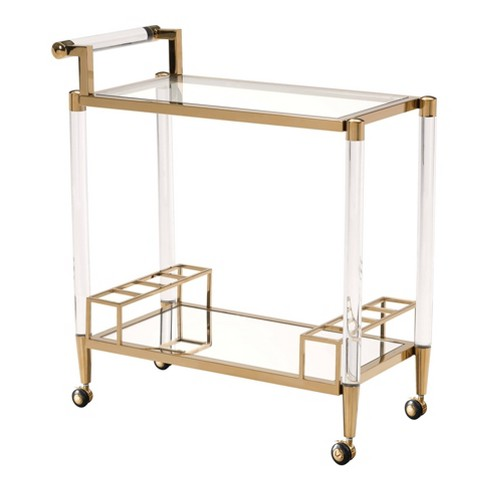 Modern 2-Shelf Lucite and Stainless Steel Bar Cart - Gold - ZM Home - image 1 of 4