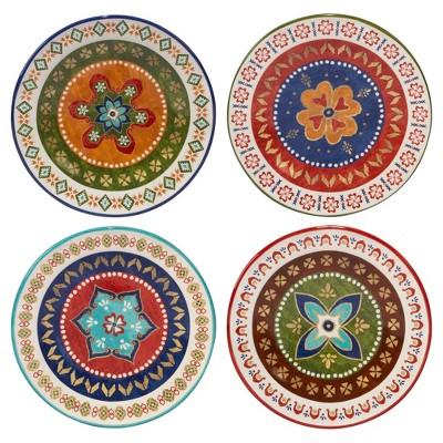 """Certified International Monterrey by Veronique Charron Ceramic Dessert Plates 8.8"""" Blue - Set of 4"""