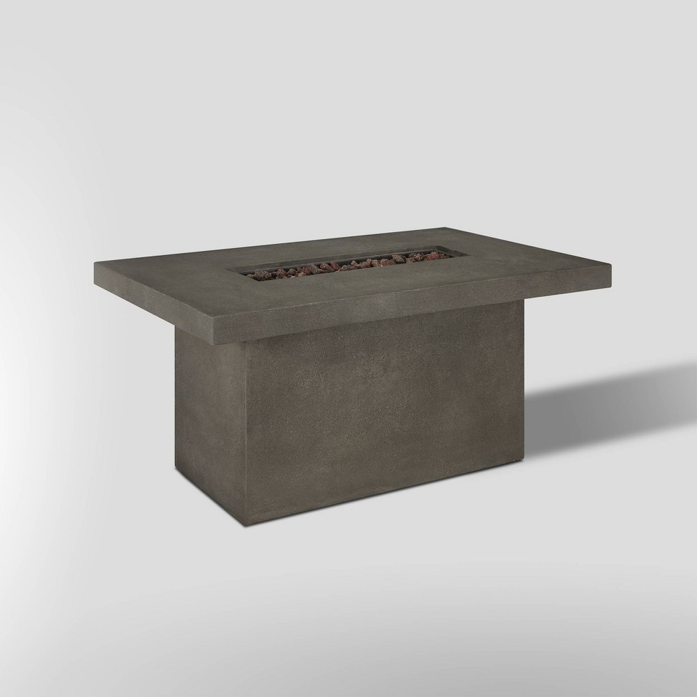 Image of Ventura Rectangle Fire Pit with Natural Gas Kit Kodiak Brown - Real Flame, Gray