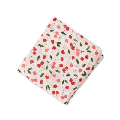 Red Rover Cotton Muslin Single Swaddle - Cherries