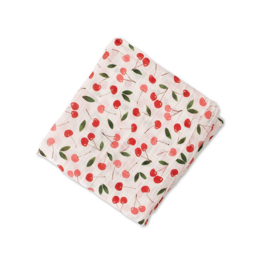 Image of Red Rover Cotton Muslin Single Swaddle - Cherries