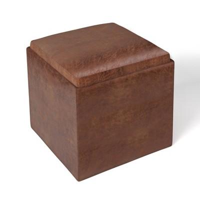 "17"" Townsend Cube Storage Ottoman with Tray - Wyndenhall"