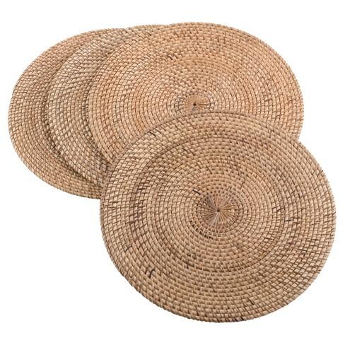 Set Of 4 Natural Round Woven Placemat 15 Saro Lifestyle Target