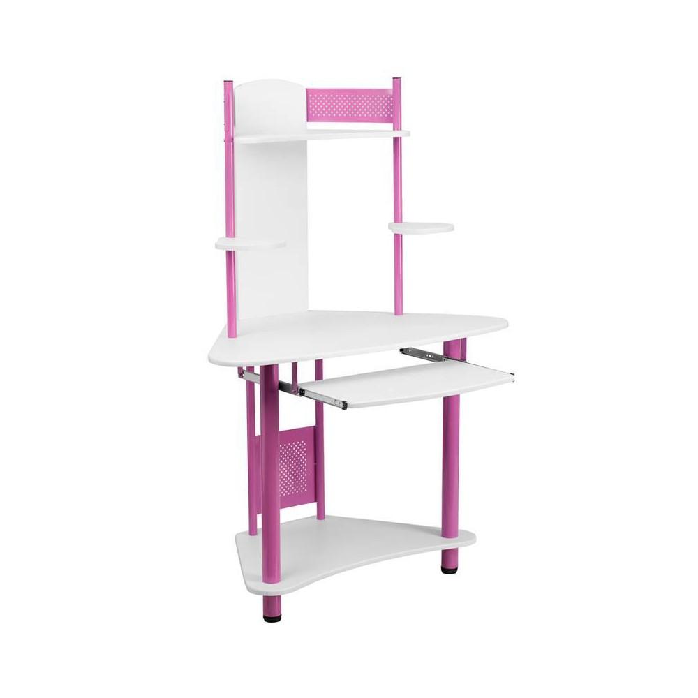 Corner Computer Desk with Hutch Pink - Flash Furniture